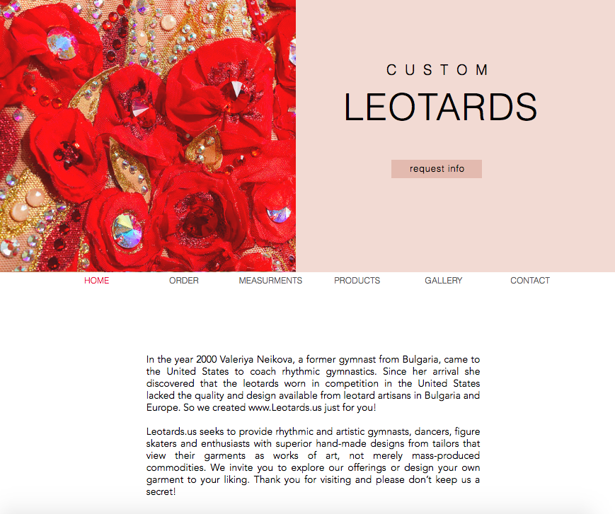 Custom Leotards Website Design