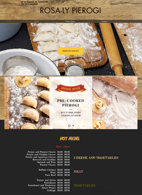 Rosaly Pierogi Website Design