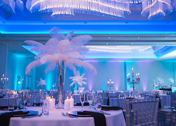 Ballroom decorated for a wedding