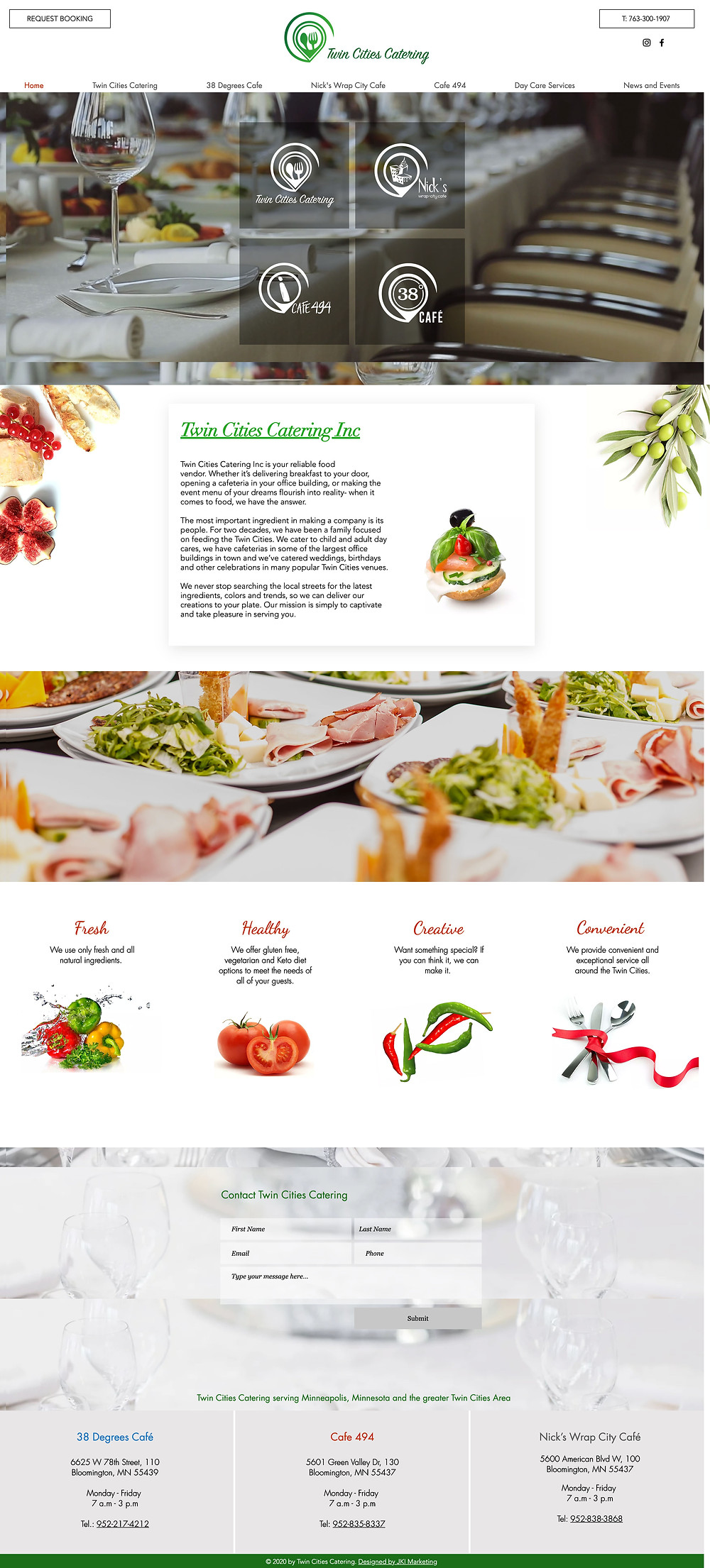 Website for Twin Cities Catering