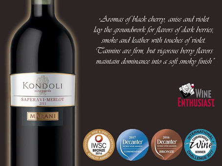 KONDOLI SAPERAVI-MERLOT FROM MARANI. 90 POINTS BY WINE ENTHUSIAST