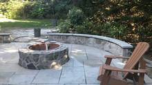 Outdoor gas fire pit and sitting walls in Short Hills, NJ