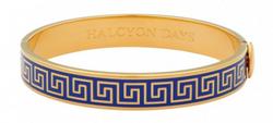 GREEK KEY DEEP COBALT & GOLD BANGLE