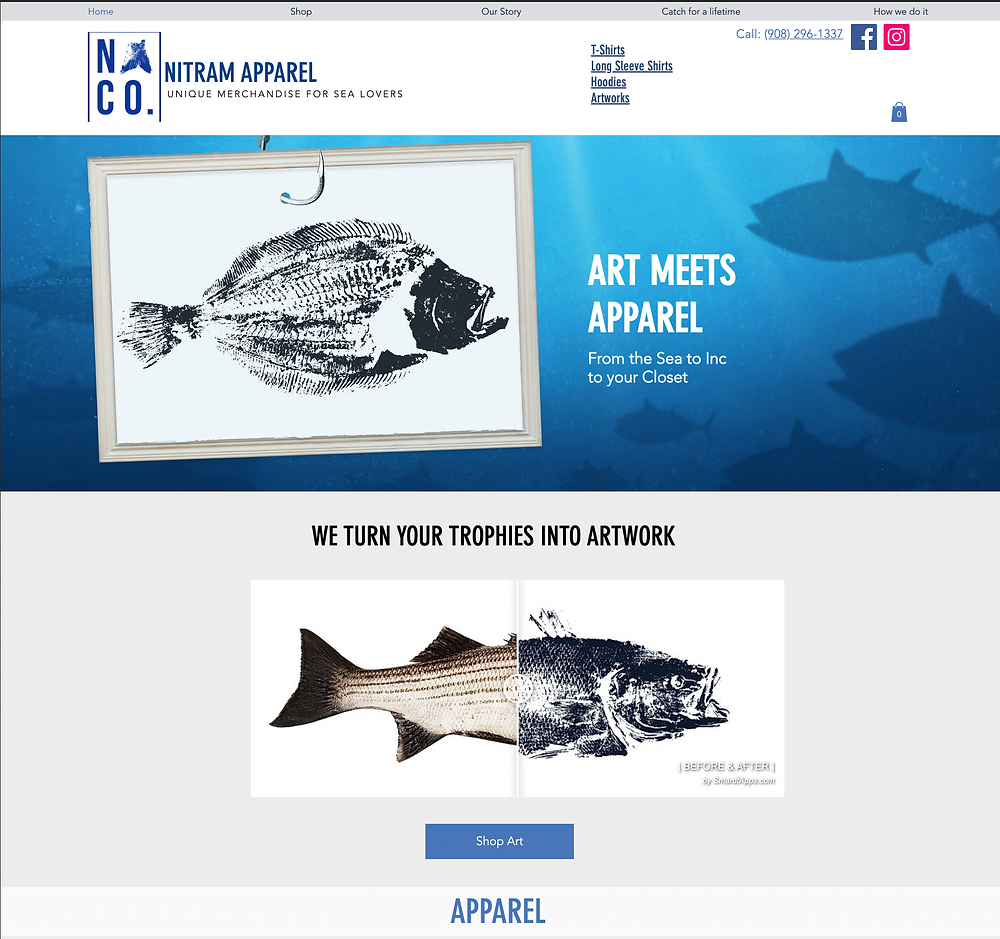 Website design for Nitram Apparel