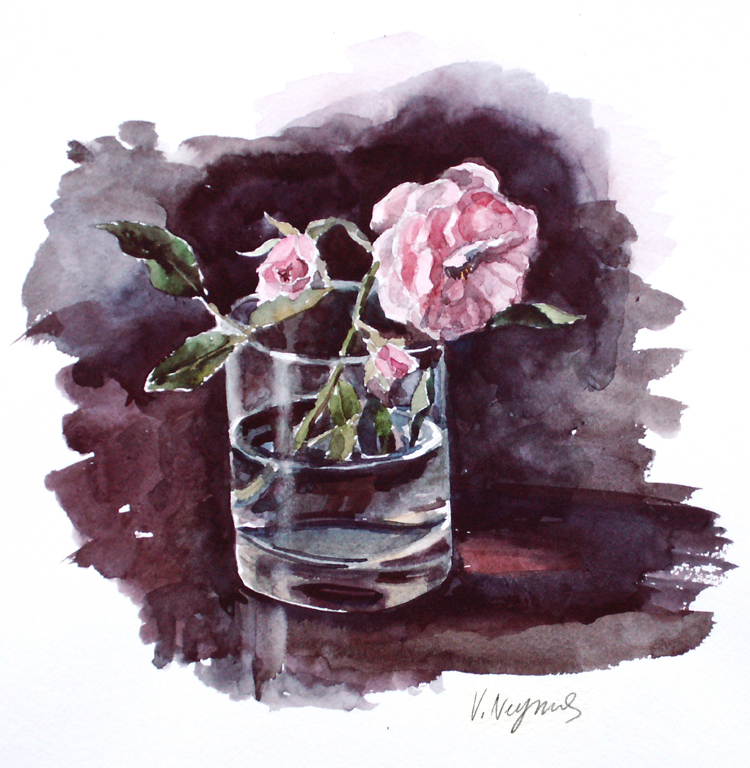 Rose in a glass