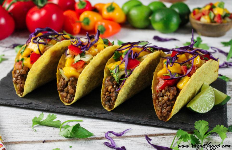 Lentil and mushroom tacos with mango salsa