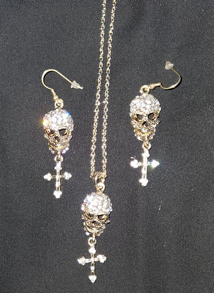 Skull necklace w/ matching earrings (Item S4)
