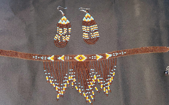 Brown Choker w/ matching earrings (Item K6)