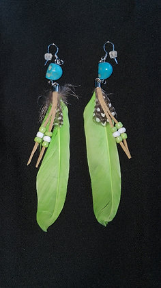Green Feather Earrings (ItemK9A)