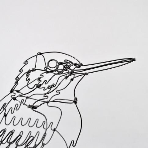 Martin-pêcheur en fil de fer _ détail