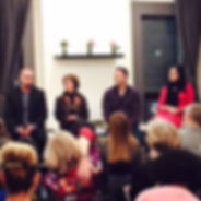 Alex Terranova speakig on a panel on successful relationships