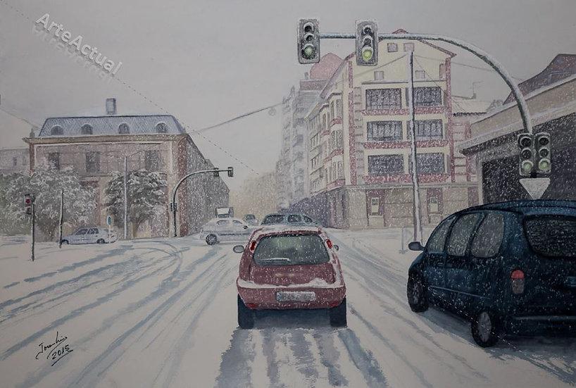 Nieva en Santander