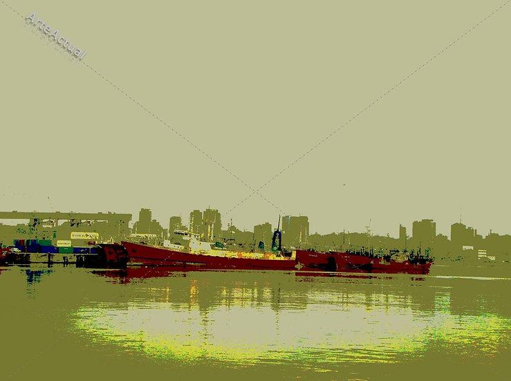 Barcos rojos en el puerto