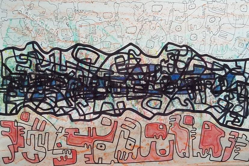 Río azul entre dibujos antiguos