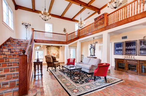 The formal entertainment room reminds one of a ball room!