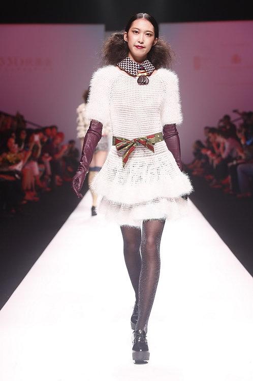 Crochet Ruffle Dress White