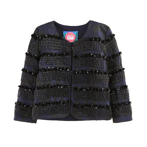 Dark Floral Tassle Jacket