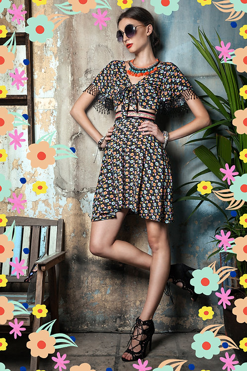 Mini Flower with bow and beads Dress