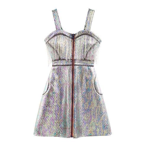 Iridiscent Metallic Zip Dress