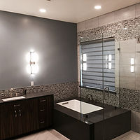 Modern master suite. Coastal Grey Quartz