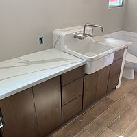 Unique sink installation with stone feat