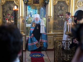 Архиерейское богослужение в Успенском храме села Жилино