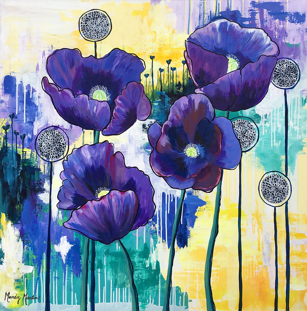 In this original painting by Pennsylvania artist Mandy Martin, deep violet poppies with a texture like velvet rise against a background dripping with sunshine.