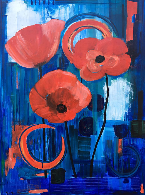 Poppies en Bleu