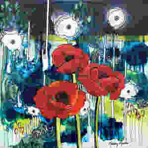 Red poppies float on an abstract background in this acrylic painting by artist Mandy Martin.