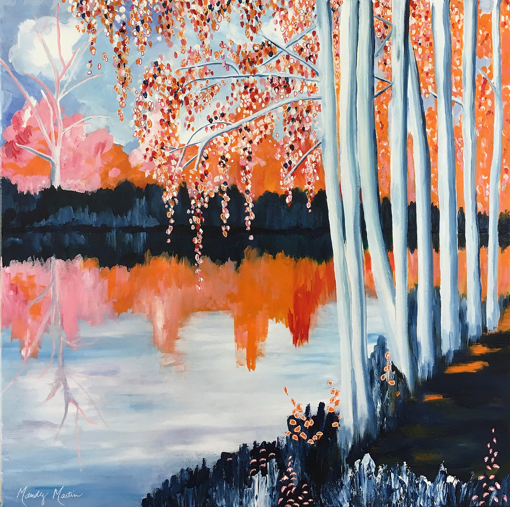 white birches stand beside a gently flowing river in autumn