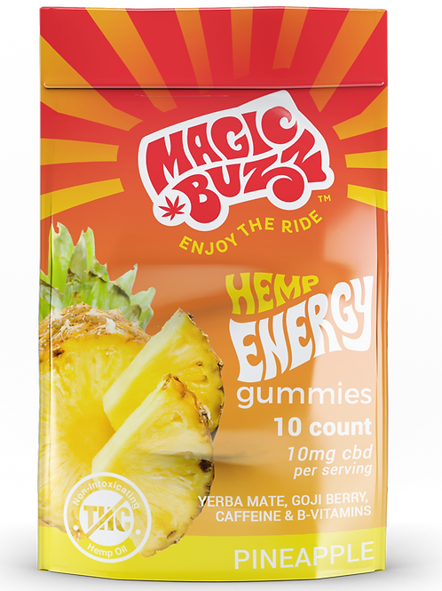 Pineapple Flavor - Hemp Energy Gummies