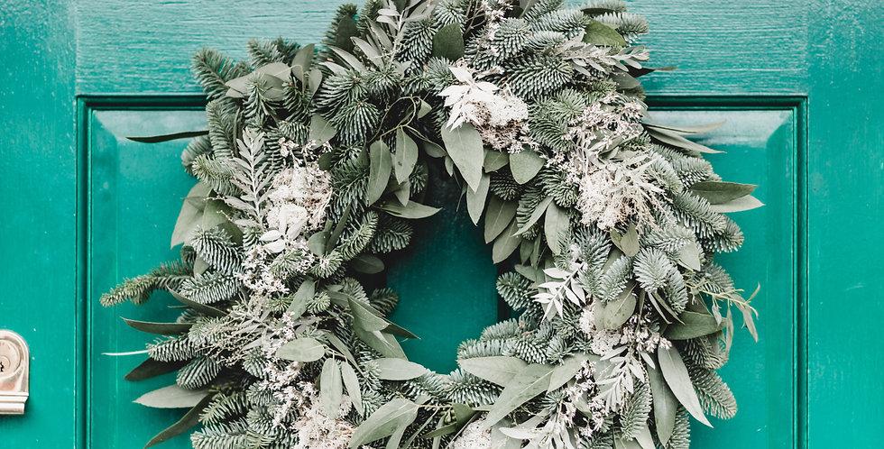 Eucalyptus Green & White Floral Wreath
