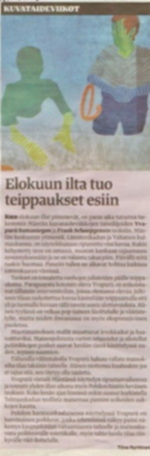 Article published in the finnnish newspaper about our work by the art critict Tiina Nyrhinen 3.8.2015