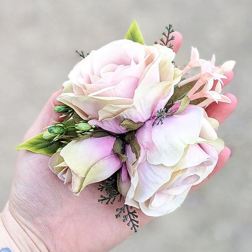 Pink & Yellow Rose Hair Flower