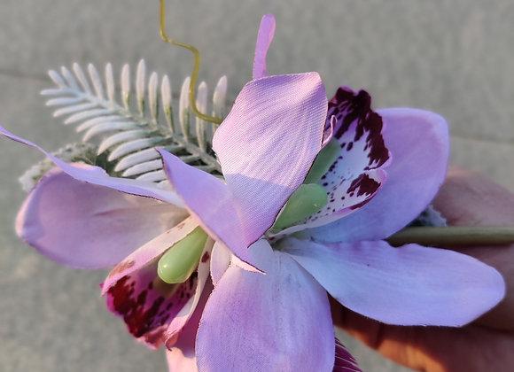 Double orchids hair clip