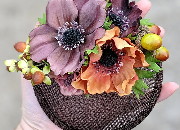 Brown Flowers & Acorns Fascinator