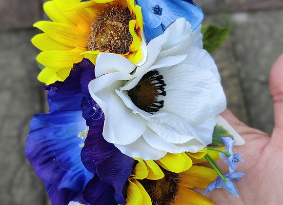 Sunflower and poppies hair flower