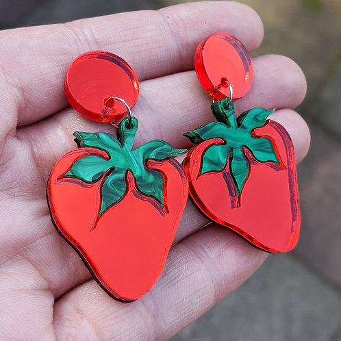 Mirrored Strawberry Earrings