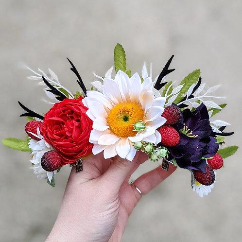 Red, Purple & White Hair Flower / Flower Crown
