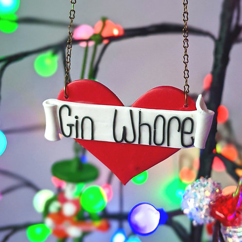 Gin Whore Tattoo Art Heart Necklace