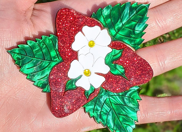 Glitter Strawberry Brooch