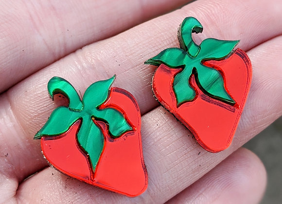 Small Mirrored Strawberry Earrings