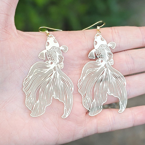 Delicate Metal Goldfish Earrings