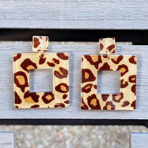 Square Leopard Print Earrings