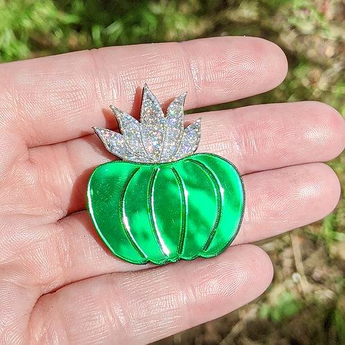 Green & Silver Cactus Brooch
