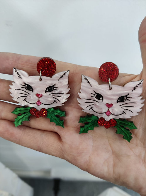 Candice Christmas Cat Earrings