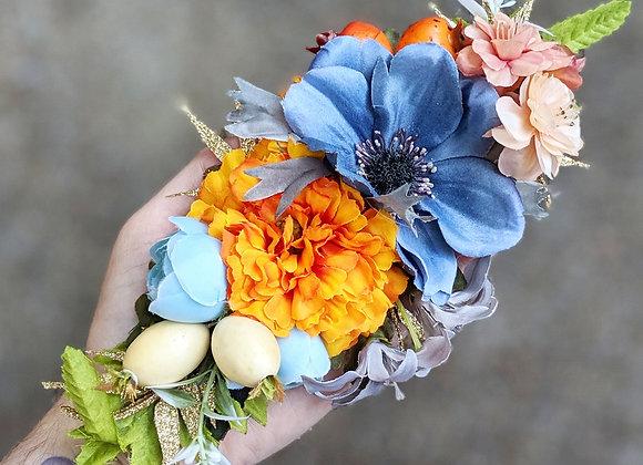 Grey & Orange Hair Flower