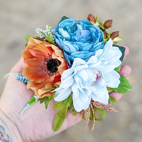 Blue & Brown Hair Flower