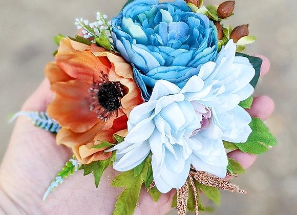 Blue & Brown Hair Flower