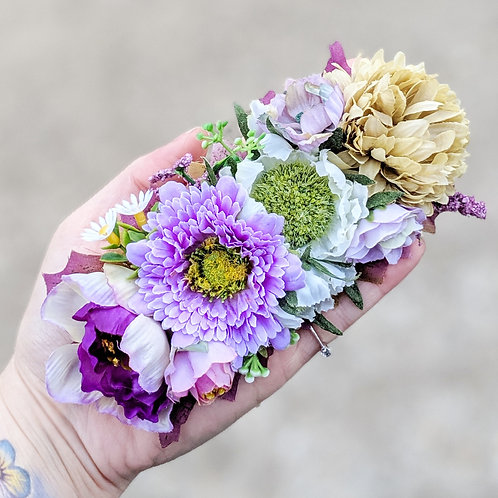 Purple & Green Hair Flower